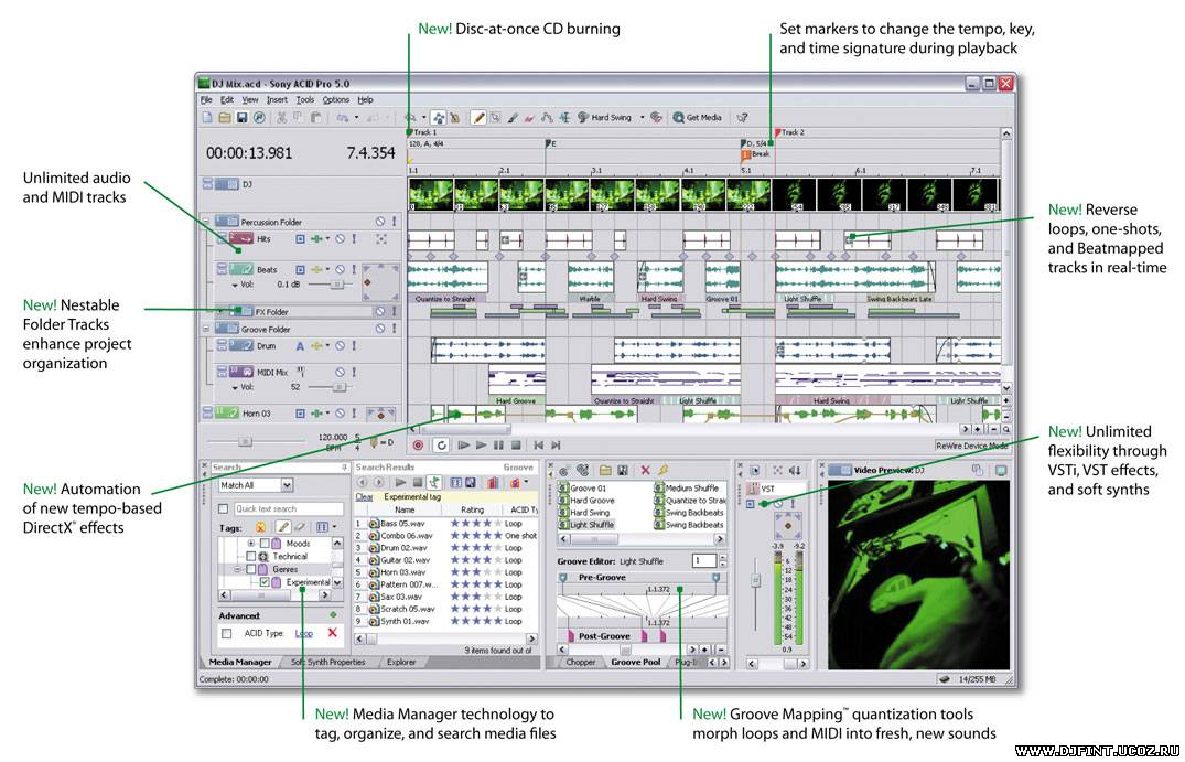 Built on the same technology, ACID Music Studio software provides the